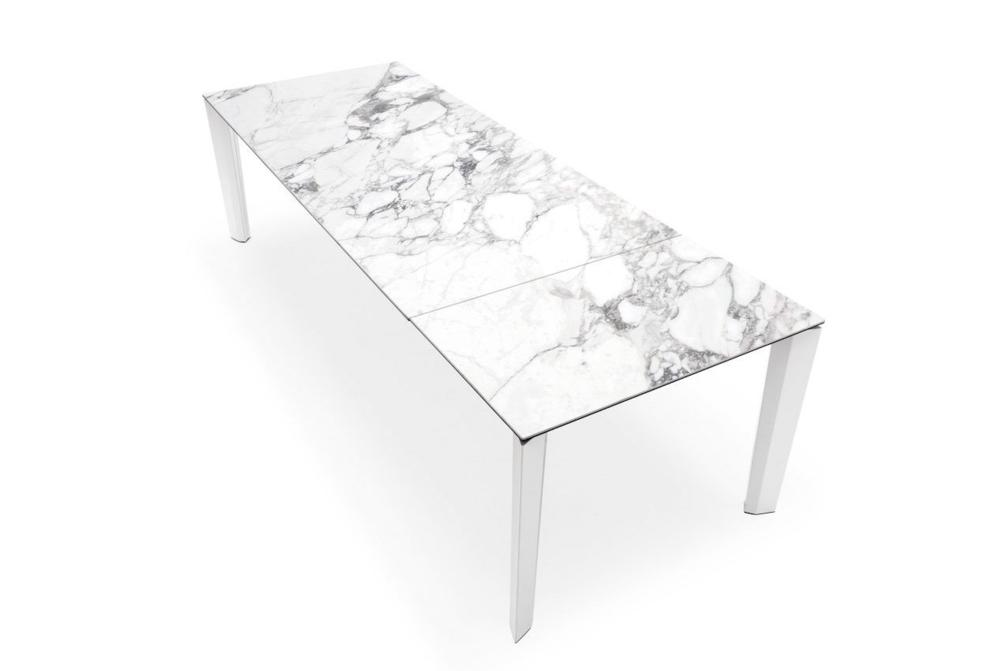 Calligaris Delta Marble Open  Delta Dining Table  Marble Top Extension